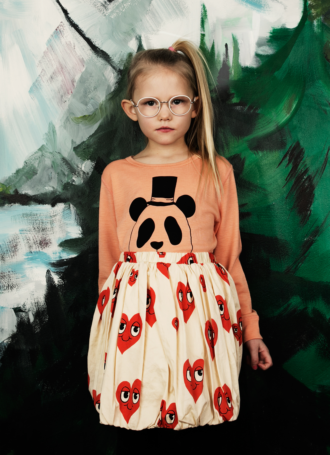 Panda merino wool shirt and Hearts skirt